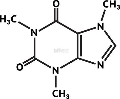 molecule diagram quot caffeine molecule molecular structure quot stickers by mhea