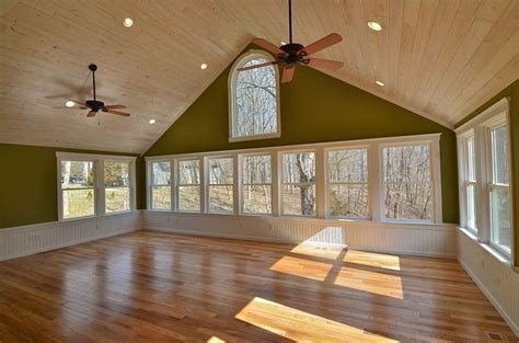 Hardwood On Ceiling by Check Out Parent S New Sunroom It Looks A Lake And Has Tons Of Windows White Washed