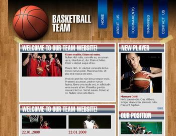 Basketball Wood Plantillas Web Gratis Free Basketball Website Templates