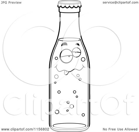 black and white chagne bottle smiling soda bottle vector outlined coloring page by