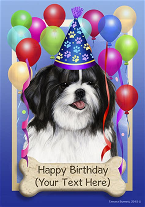 shih tzu birthday shih tzu black happy birthday flag by tamara burnett furrypartners