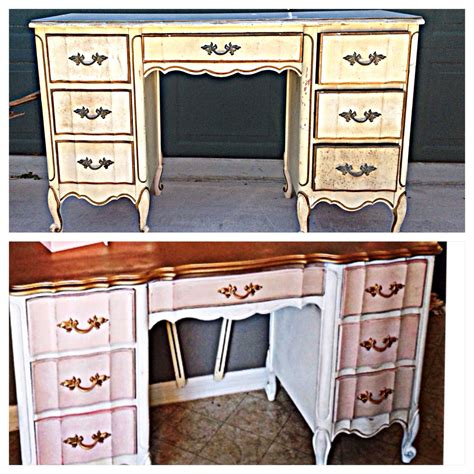pink and white desk before and after french provincial desk or vanity
