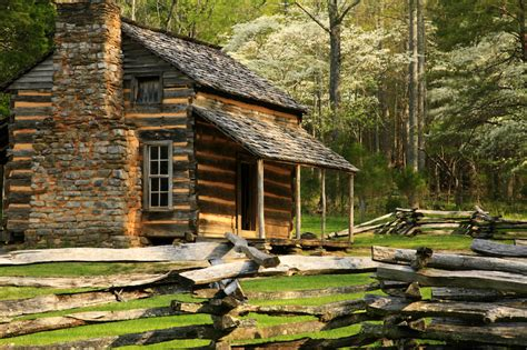 Log Cabin Smoky Mountains by Great Smoky Mountains National Park Push Pin Travel Maps