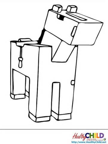 Minecraft Horses Colouring Pages sketch template