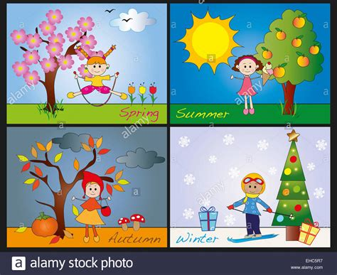seasons clipart illustration of four seasons with children stock photo