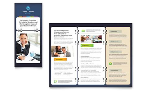 microsoft office leaflet template secretarial services tri fold brochure template design
