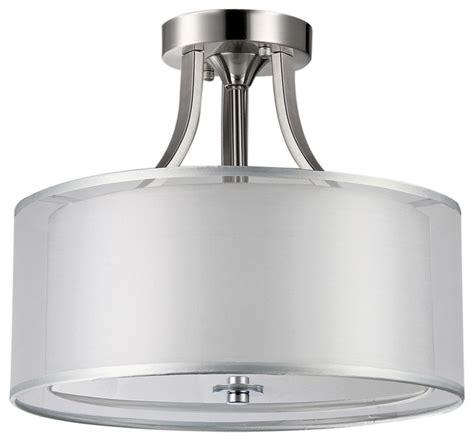 brushed nickel 2 drum shades crystal semi flush mount