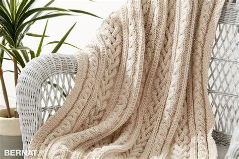 bernat afghan knitting patterns bernat braided cables knit throw knit pattern