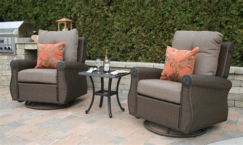 Patio Furniture Seating Sets Giovanna Luxury All Weather Wicker Cast Aluminum Patio Furniture Seating Chat