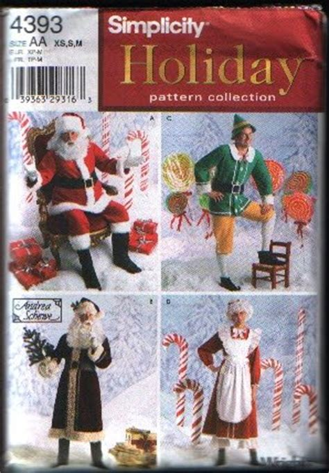 pattern for father christmas costume simplicity 4393 santa mrs claus elf costume sewing pattern