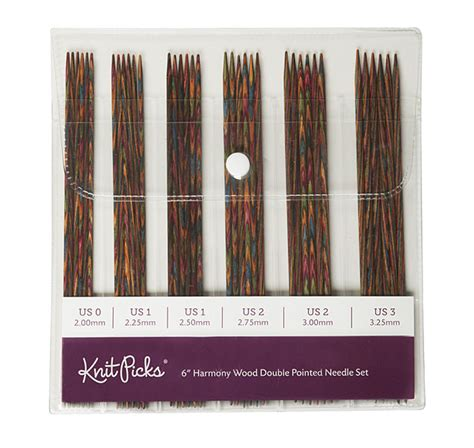 knit picks needles 6 quot rainbow wood pointed knitting needle set from