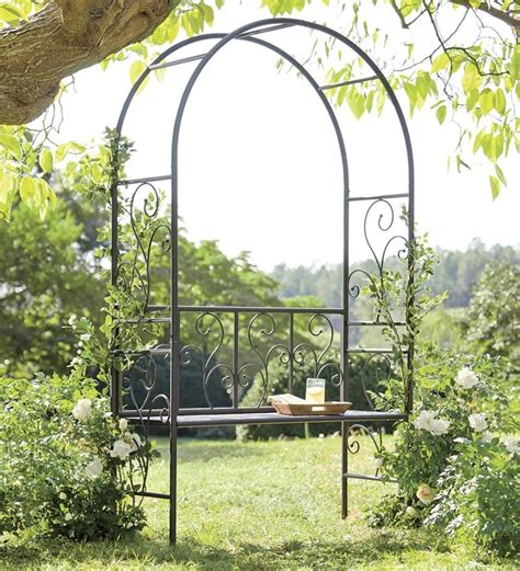 garden arbor with bench wrought iron garden flourish bench arbor garden furniture