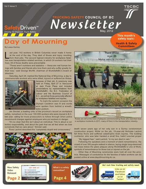 safety bulletin template trucking safety council of bc may 2012 newsletter