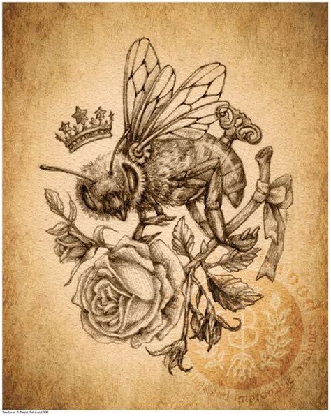 rose and bee tattoo коронованный монохромный винтаж в картинках творческая