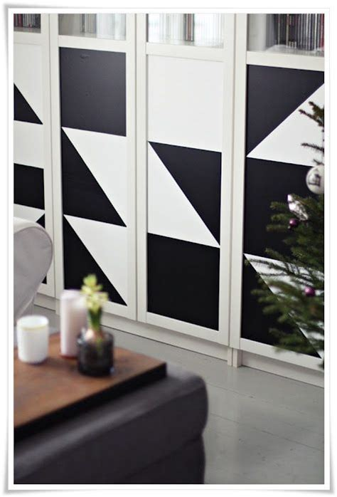 geometric contact paper on billy bookcase funky geometry