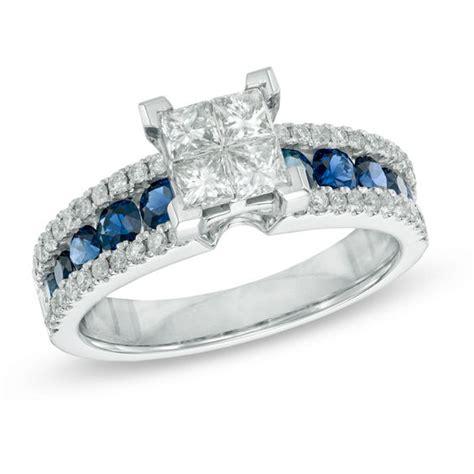 3 4 ct t w princess cut and blue sapphire
