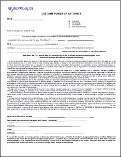 customs power of attorney template wfwhelan co