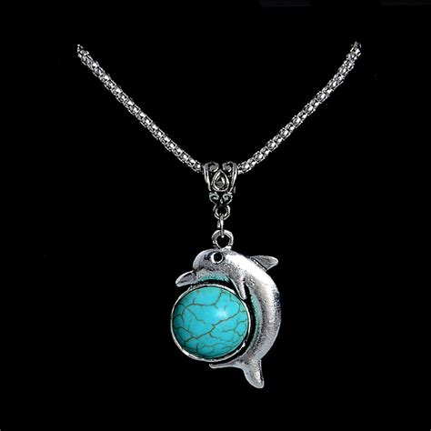 get cheap turquoise dolphin necklace aliexpress