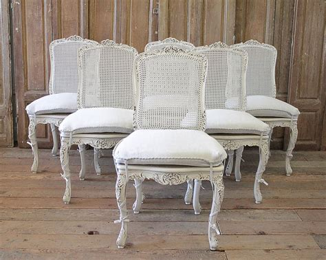 set   french country painted cane  dining chairs