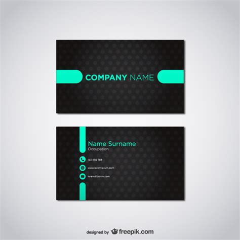 black business card template vector black and turquoise business card vector free