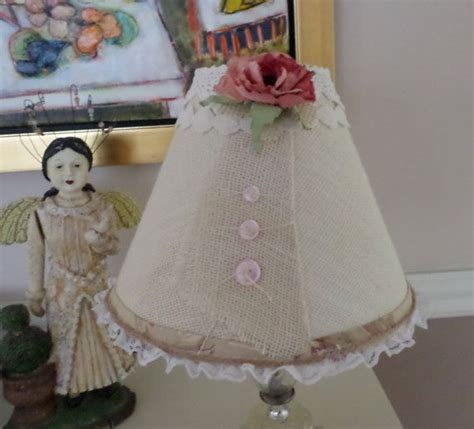 burlap l shade lshade shabby cottage shabby chic or cottage chic style burlap l by