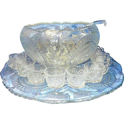 Antique Glass L by Antique Punch Bowl Set By L E Smith Glass Company From
