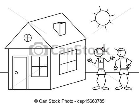 figure house vector of stick figures house illustration of a happy
