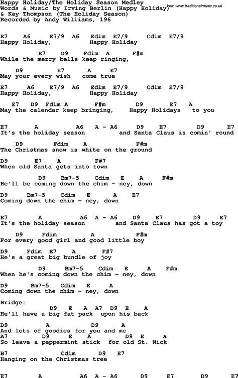 song lyrics  guitar chords  happy holiday irving berlin