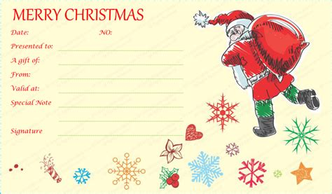 santa  gift bag gift certificate template christmangiftcard christmasgiftcertificate