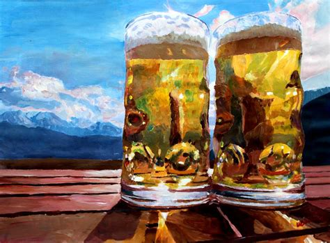 two glasses of beer with mountains painting by m bleichner