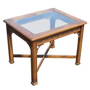 Wooden End Tables Traditional Style Wood Glass Side End Table Mr9530 Ebay