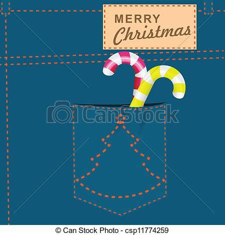 merry christmas jeans merry christmas   jeans pocket candy vector illustration