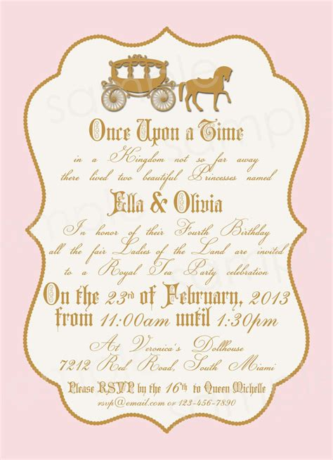 Royal Invitation Letter Exle Royal Princess Birthday Invitation Diy By Modpoddesigns