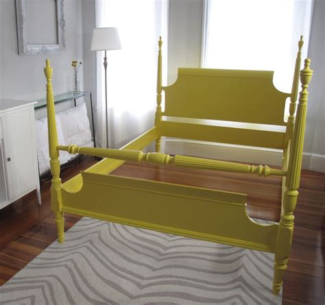 Blue Lamb Furnishings Full Double Four Poster Bed Frame Yellow Bed Frame