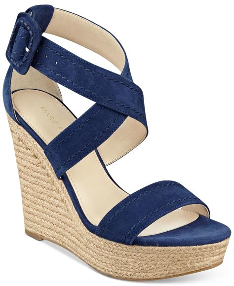 marc fisher haely platform wedge sandals in blue lyst