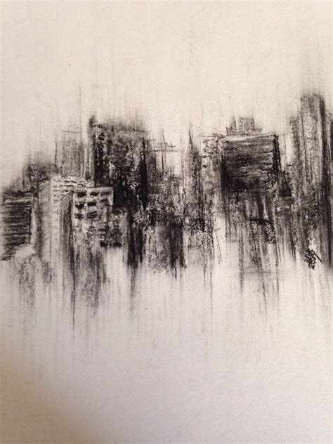 Fading City Original Charcoal Drawing Landscape Landscape Drawing Ideas