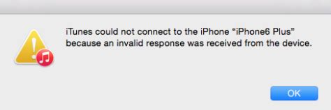 how to fix itunes not connect to iphone invalid response
