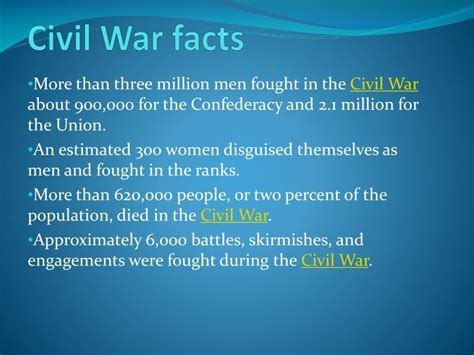 ppt civil war facts powerpoint presentation id 1542406