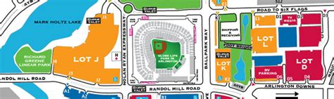 rangers parking lot map globe park in arlington directions and parking