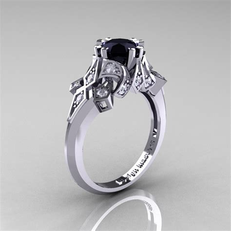 edwardian 14k white gold 1 0 ct black and white