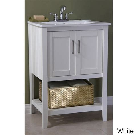ceramic top 24 inch single sink bathroom vanity and basket