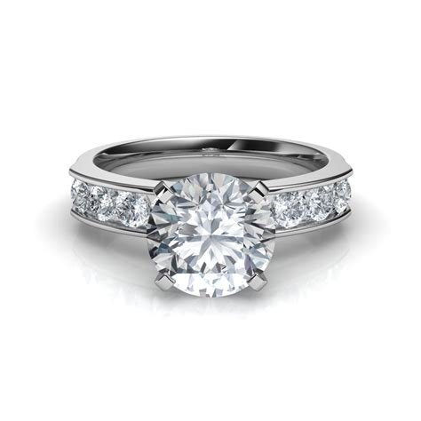 Ring With Diamonds Around It by Cut Engagement Ring With 8 Side Diamonds