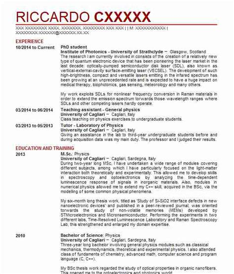 cv exles for phd student 73 physicists cv exles science cvs livecareer