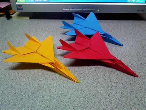 Origami Fighter Plane - origami f15 fighter jets angled view by