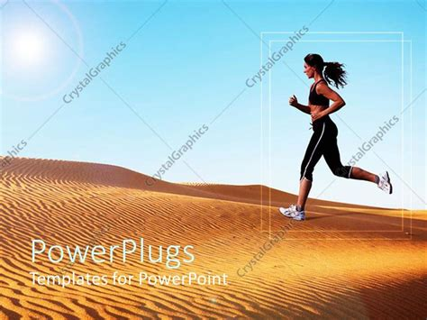 powerpoint templates running powerpoint template athletic woman running on sand dunes