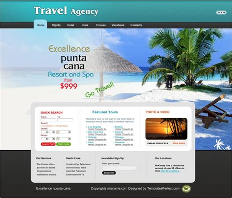Free Travel Agency Website Template Travel Website Template