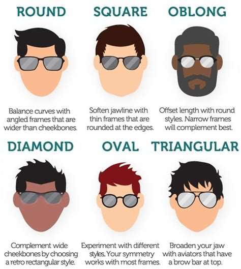 different head shapes men how to choose perfect sunglasses according to face shape