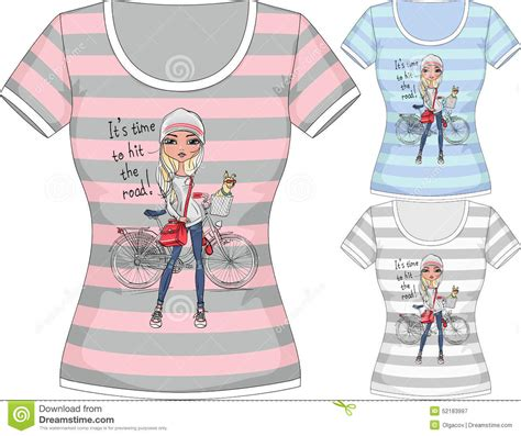 Vector T Shirt With Fashion Girl And Bike Stock Vector Image 52183997 Fashion Design T Shirt Templates