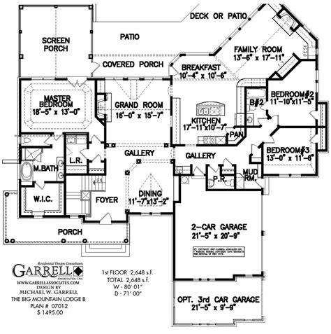 large ranch floor plans big mountain lodge b house plan house plans by garrell