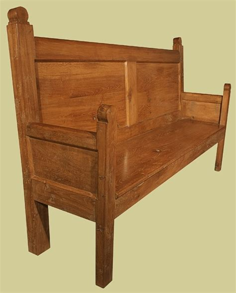 medieval bench 18th century style settle joined oak reproduction settle